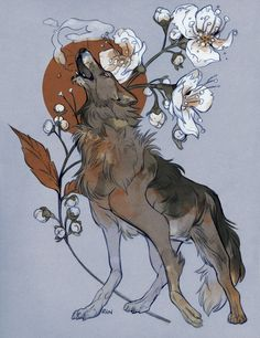 """godzillabreath: """" grey wolf, queen-of-the-meadow, frigid air commission for Wolventooth """" Pretty Art, Cute Art, Tag Art, Animal Drawings, Art Drawings, Illustrations, Illustration Art, Wolf Spirit Animal, Pics Art"""