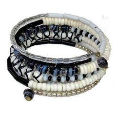 Five Turn Black & White Bead and Bone Bracelet - CFM