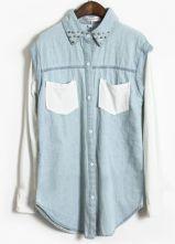 Blue Contrast White Long Sleeve Rivet Denim Blouse $36.8