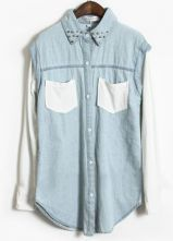 Blue Contrast White Long Sleeve Rivet Denim Blouse $36.8