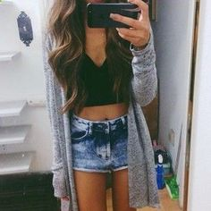 Crop top, High waisted shorts, Oversized cardigan