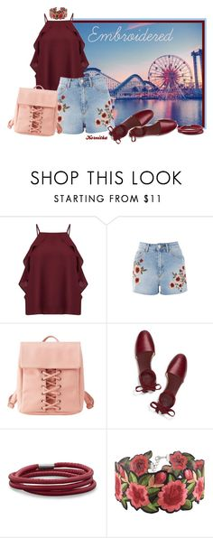 """""""nr 1444 / Embroidered Shorts"""" by kornitka ❤ liked on Polyvore featuring Disney, Miss Selfridge, Topshop, Charlotte Russe, Tory Burch, BillyTheTree and WithChic"""
