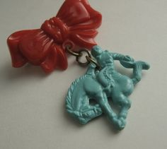 This ones for you Elise... Vintage bow and bronco rodeo pin brooch 1950s