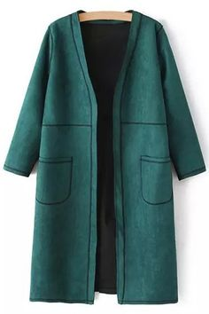 Pure Color V Neck 3/4 Sleeve Coat
