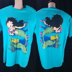 49768974a Details about Mermaid Betty Boop T Shirt Size XL Front Back Graphic Vtg 90s  Blue Changes USA