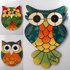 Owl Mosaic, Easy Mosaic, Mosaic Art, Mosaic Glass, Owl Patterns, Mosaic Patterns, Diy And Crafts, Arts And Crafts, Doodle Art Designs