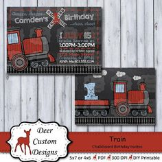 This train chalkboard photo birthday invitation is a perfect way to celebrate your little conductor's birthday. The birthday invitation is personalized with your child's name and party details and can be created for any age. First Birthday Party Themes, Photo Birthday Invitations, Trains Birthday Party, Train Party, Birthday Photos, 2nd Birthday, Invitation Design, Invite, Birthday Chalkboard