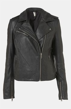 WINTER!!!!!  Topshop 'Winston' Leather Biker Jacket available at #Nordstrom