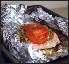 Foil Baked Basil Pesto Salmon. Pesto and tomato on salmon baked in foil. Yum