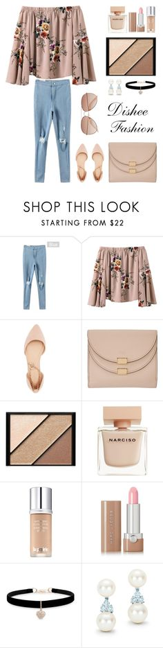 """""""Khaki Floral Blouse & Ripped Jeans"""" by disheefashion ❤ liked on Polyvore featuring Charlotte Russe, Chloé, Elizabeth Arden, Narciso Rodriguez, La Prairie, Marc Jacobs, Betsey Johnson, Tiffany & Co. and H&M"""