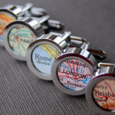 Vintage map cufflinks, by DaisyMaeDesignsShop on etsy.com | The Merry Bride