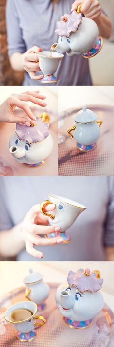 So cute! Beauty & The Beast teapot set! Dress up Disney princess on ubieranki.eu! http://www.ubieranki.eu/encyklopedia/ksiezniczki-disneya.html