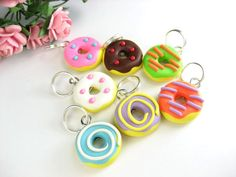 Fun Donut Stitch Markers set of 7 polymer clay by beadpassion, $7.50