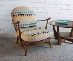 Unique, Reupholstered Ercol Windsor Chair in natural wood finish with beautiful geometric patterned cotton linen. Ercol Chair, Ercol Furniture, Funky Furniture, Chair Upholstery, 1950s Living Room, Antique Chairs, Triangle Pattern, Vintage Chairs, Outdoor Chairs