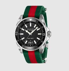 gucci dive extra large stainless steel and web watch
