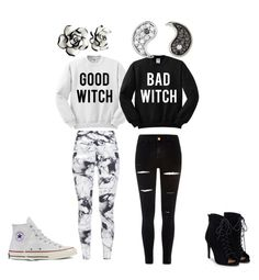 """""""Good witch Bad witch"""" by eno-scarlet ❤ liked on Polyvore featuring River Island, Varley, Sydney Evan, JustFab and Converse"""