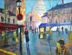 #JeanPESCE (born. 1926) #Montmartre, #PlaceduTertre. #Paris.  Oil on canvas, signed lower right.