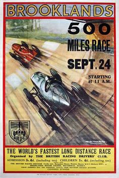 "'Brooklands 500 Miles' by Roy Nockolds, 1930 ""I would love to see this section of Brooklands track restored-Coltrane ran a Bentley over it for Planes, Trains & Automobiles."" KB"
