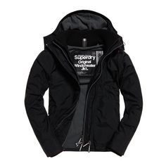Superdry Pop Zip Hooded Arctic Windcheater Jacket ($75) ❤ liked on Polyvore featuring men's fashion, men's clothing, men's outerwear, men's jackets, black, superdry mens jacket, mens short sleeve jacket, mens zip up jackets and mens hooded windbreaker