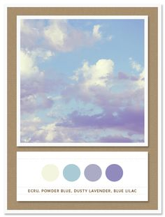 Colour Palette: ecru, powder blue, dusty lavender, blue lilac