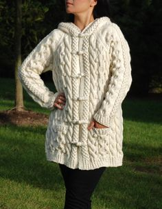 Knitting Patterns Women Hand Knit Women Chunky Cable Aran Irish Fisherman by perfectknit Knitted Coat, Hand Knitted Sweaters, Cable Knitting, Hand Knitting, Jumpers For Women, Cardigans For Women, Classic Pattern, Handgestrickte Pullover, Knit Cardigan Pattern