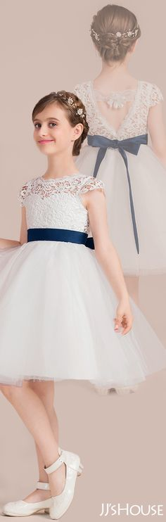 Fall in love with the way your girl look in this gorgeous junior bridesmaid dress with an elegant back design. The lace bodice is paired with a dark navy satin sash to make it unique and lovely. Cute Girl Dresses, Flower Girl Dresses, Junior Bridesmaid Gifts, Affordable Dresses, Knee Length Dresses, Junior Dresses, Wedding Party Dresses, Bridal Looks, Special Occasion Dresses