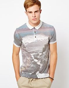 River Island Polo Shirt with Landscape Print