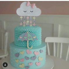 Cute shower cake for a baby shower Baby Cakes, Baby Shower Cakes, Baby Shower Parties, Baby Shower Themes, Cupcake Cakes, Pretty Cakes, Cute Cakes, Beautiful Cakes, Cloud Party