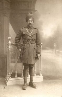 Unknown Indian officer, photographed in a studio in Marseilles, WW1