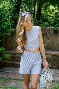 Striped two-piece set only $15!   Running in Heels