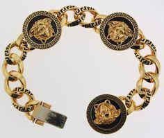 Versace Jewelry for Men | Gianni Versace Medusa Chain Link Bracelet(Source: iamjenniferle)