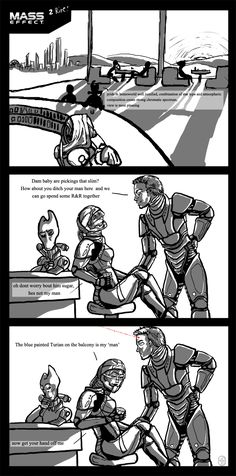 Mass effect: better reach. by CircuitDruid.deviantart.com on @deviantART The blue painted turian on the balcony <3