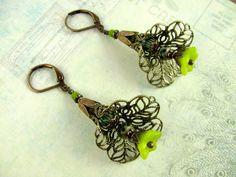 Green Filigree Flower Earrings - Swarovski Crystals Czech Glass Brass Filigree Flower