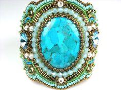 Turquesa pulsera brazalete turquesa cristales por LiTelleJewelry