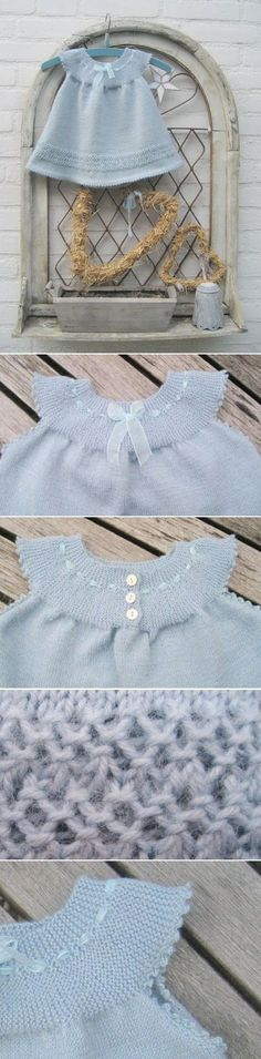 The loveliest baby / toddler / child's dress with short rows yoke. I adore the gauzy ribbon and bow. Seed stitch detail, picot hem. Dutch instructions available for download (pdf file)