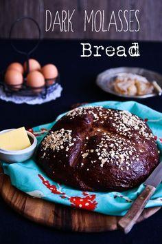 Dark Molasses Oatmeal Bread @ Not Quite Nigella Molasses Bread, Bread Machine Recipes, Bread Recipes, Baking Recipes, Primal Recipes, Yummy Recipes, Dessert Recipes, Dark Bread Recipe, Kitchens