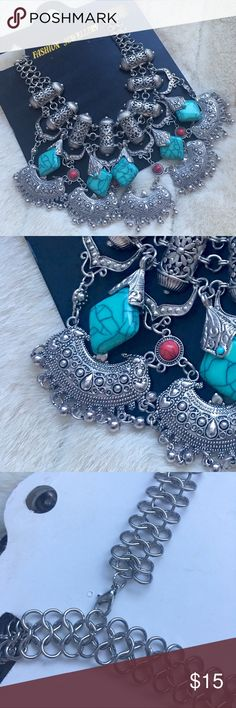 🆕 Gypsy bohemian silver turquoise bib necklace Beautiful, Gypsy bohemian turquoise silver bib necklace. || NEW, bought to gift to someone overseas but been in storage ever since. Jewelry Necklaces
