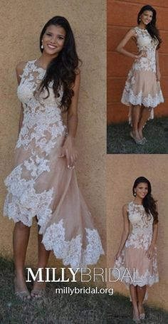 High Low Formal Dresses Champagne, Modest Homecoming Dresses for Teenagers, A Line Prom Dresses Lace, Tulle Party Dresses Gorgeous Vintage Homecoming Dresses, High Low Prom Dresses, A Line Prom Dresses, White Wedding Dresses, Bridal Dresses, Prom Gowns, Graduation Dresses, Party Dresses, Ball Dresses
