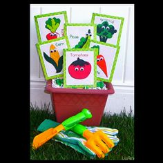 Cute out cute vegetable pictures & glue them on seed packages. Arrange in a clever planter. Add gloves & garden tools for a cute Springtime Gift!