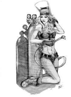 "Pin-up Welder - this is exactly what we want drafted up, with a few alterations to make it our ""own""...anyone know anyone who can draw this??"
