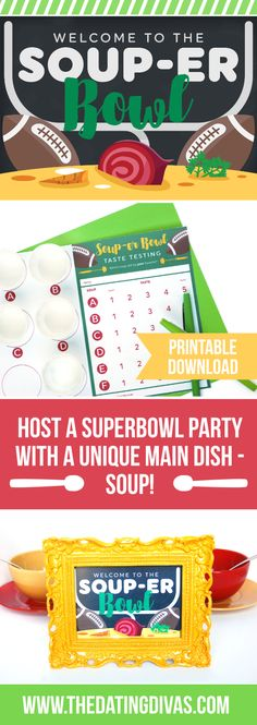 Super Bowl Soup Swap Party- how fun would this be to host in February for the Super Bowl? Free printables included!!!