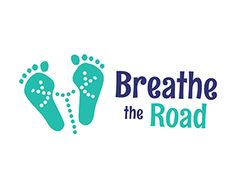 #logo Breathe the Road Logo design - Two green lungs shaped as footprints