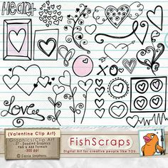 Valentine Clip Art Doodles  Love and Heart Digital by FishScraps, $4.75