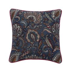 """16""""x 16"""" Decorative Embroidered Toss Pillows, Floral Jacquard Throw Pillow Cover Nature Floral Pattern - Midnight Garden Party"""