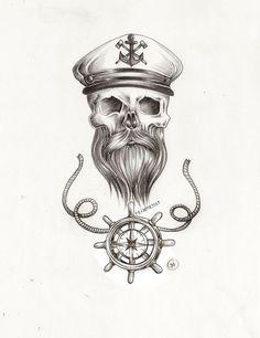 draw tattoo skull sailor - Pesquisa Google