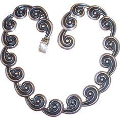 Vintage Los Castillo Sterling Silver Spirals Necklace.