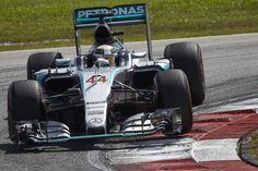Lewis Hamilton guiding his silver arrow.
