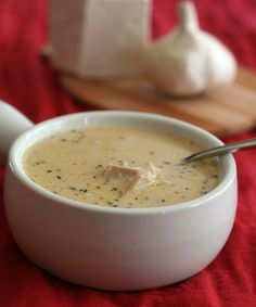 Roasted Garlic Chicken Soup - A creamy roasted garlic soup recipe with hearty chunks of chicken. The perfect winter warm up meal! Recipe Serves 6. Each serving has 7 g of carbs.