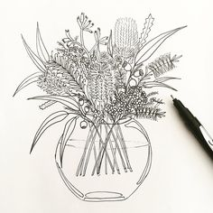 I'm so happy to have finally drawn this piece! I wanted to have this illustration finished in time for last… Illustration Blume, Botanical Illustration, Botanical Art, Wildflower Drawing, Wildflower Tattoo, Australian Wildflowers, Australian Native Flowers, Flower Bouquet Drawing, Flower Art