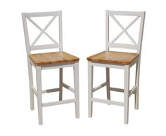 Amazon.com - TMS 24 inch Virginia Cross Back Stools (Set of 2), White/natural - Barstools With Backs